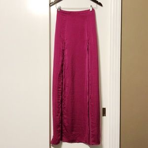 Nasty Gal Magenta Purple Double Slit Maxi Skirt
